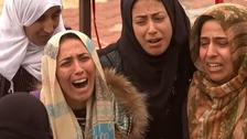 Kurdish families mourn their dead as US jets pummel IS in Syria