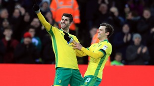 Nélson Oliveira celebrates scoring a hat-trick for Norwich City against Derby County.
