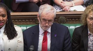Labour leader Jeremy Corbyn listens during Prime Minister's Questions in the House of Commons