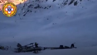 Wreckage of helicopter on Rutor glacier.
