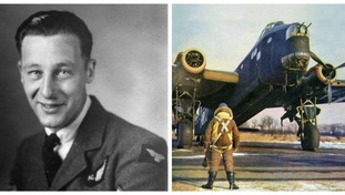 Harry Barnard (left) was the only survivor after the Stirling Bomber (right) crashed.