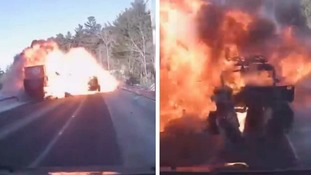 Teenager lucky to be alive after head-on crash with lorry ignites fireball
