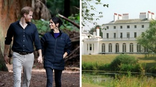 The Duke and Duchess of Sussex and Frogmore House (right) which is located next to Frogmore Cottage.