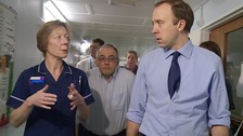 Health Secretary Matt Hancock tours the Princess Alexandra Hospital in Harlow.
