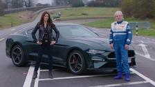 Presenter Ginny Buckley with racing driver Barry Lee