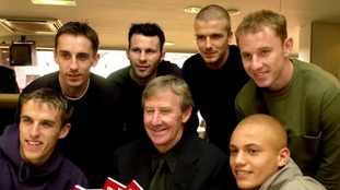 Eric Harrison with the Class of 92 in 2001.