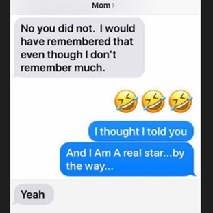 Obama shared the exchange with the hashtag #TextsFromMom.
