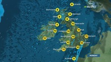Sunny spells and scattered showers with highs of 12C