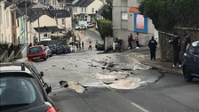 Burst water main causes 'road collapse' in Plymouth