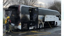 Coach fire shuts major road between Nottingham and Derby