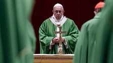 Pope Francis celebrates Mass at the Vatican.