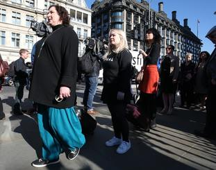 Nicola Coughlan, who plays Clare Devlin, and Siobhan McSweeney, who plays Sister Michael, joined 26 other women in the march at Westminster.