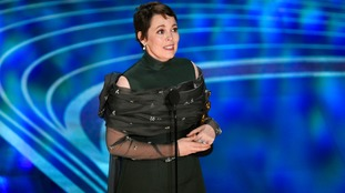Olivia Colman was overcome as she accepted her award.