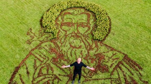 12 metre portrait of Wales' patron saint created to mark St David's Day