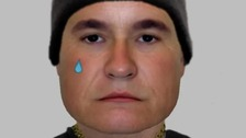 Police have issued an e-fit image of a man with a tear-drop tattoo in the hunt for an armed robber.