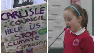 Emily Graham, aged 6, speaking to council in Carlisle.