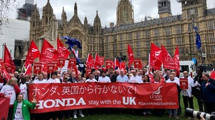 Union members outside Parliament in London.