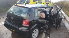 A 17-year-old man had to be cut free from this car following a collision on the A46 near Bath.