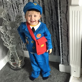 2-year-old Jacob from Belle Isle, Leeds, as Postman Pat