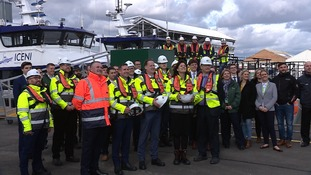Claire Perry MP with representatives from the offshore wind industry at Lowestoft Port.