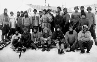 Captain Robert Falcon Scott (centre, balaclava) and members of the ill-fated expedition to Antarctica to reach the South Pole
