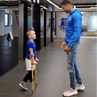 Max was surprised with a greeting from striker Dominic Calvert-Lewin