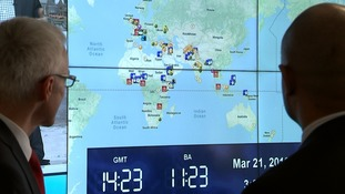 In the control centre was a huge map of the world with flashing icons indicating various security alerts.