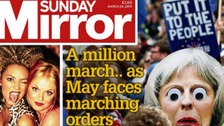 PM's future and Brexit march dominates the papers