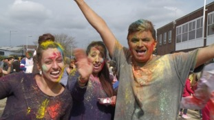People celebrate Holi festival in Swindon.