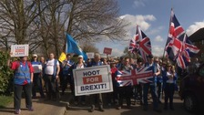 The pro-Brexit protest march from Sunderland to London has reached Northamptonshire.