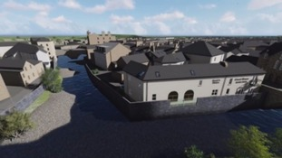 Artist's impression of part of the £44m flood defence scheme in Hawick