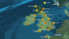 Thursday will see spring sunshine highs of 17C.