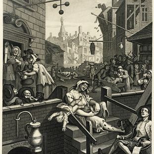 Hogarth's print of 1751 depicts the spirit as a one-way street to ruin