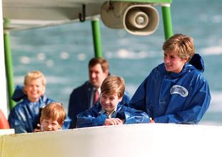 Diana, nine-year-old William and Harry, seven, on board the Maid of Mist for a close-up look at Niagara Falls in 1991