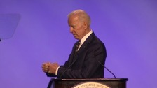 Joe Biden speaking at an electrical workers union conference in Washington, DC.