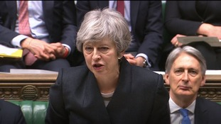 Theresa May addresses MPs on the Brexit delay.