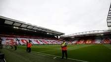Fans create a mural before kick off on the eve of the 30th anniversary of the Hillsborough tragedy during the Premier League match at Anfield, Liverpool.