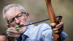The Labour leader kept a keen eye on his target.