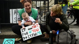 A baby holds a sign that reads: 'If not for you, do it for me'.