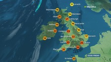 Weather: Warm and sunny for most but breezy on the coast