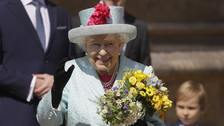 The Queen leaves the Easter Mattins service at St George's Chapel, Windsor Castle