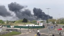 Derby Explosions: Fire crews tacking blaze at industrial estate