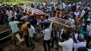 Mass funerals are taking place for the victims of the Sri Lanka bombings.