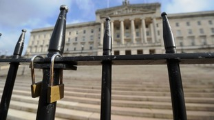 Locked gates at Stormont in Belfast