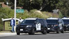 San Diego County Sheriff's vehicles line up outside of the Chabad of Poway Synagogue