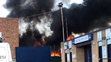 The fire broke out next to Roots Hall.