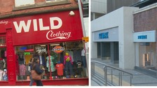 Left: Vintage clothes store Wild Clothing. Right: World's biggest Primark.