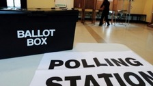 ballot box and polling station sign