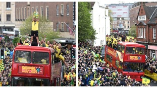 Norwich City fans turned out in force to salute their heroes.