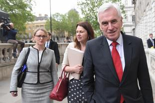 Shadow business secretary Rebecca Long-Bailey, shadow environment secretary Sue Hayman and shadow chancellor John McDonnell arrive at the Cabinet Office